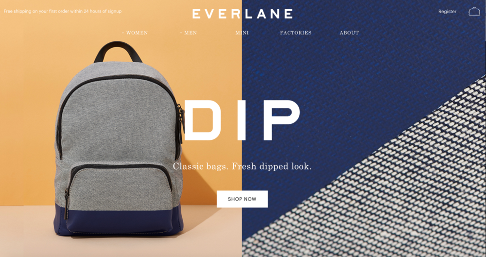 Everlane is an ecommerce store with a beautiful landing page with clear information on what they offer.