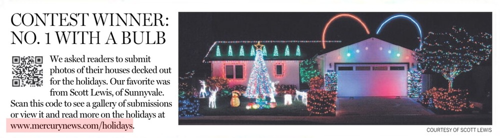 Winner of the San Jose Mercury News' 2012 Christmas light contest