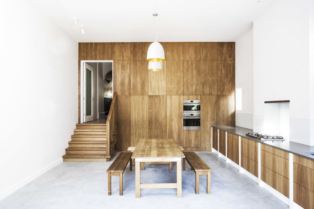 Oak clad kitchen and dining space within new rear extension