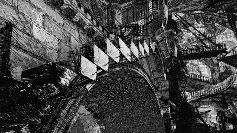 Piranesi - Carceri D'Invenzione  Gregoire Dupond - 11:40  An animated voyage through Giovanni Battista Piranesi (1720-78) famous etchings of imaginary prisons,  Le Carceri d'Invenzione .