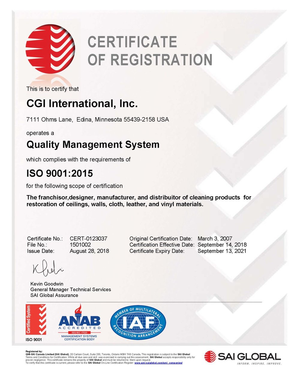 Color Glo International ISO 9001: 2015 Certification