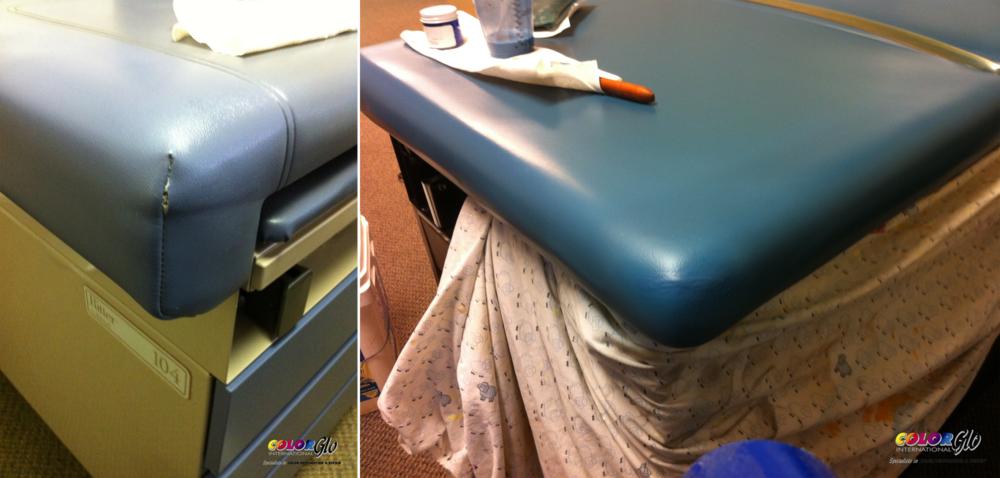 Vinyl on medical furniture repaired by Color Glo specialists.