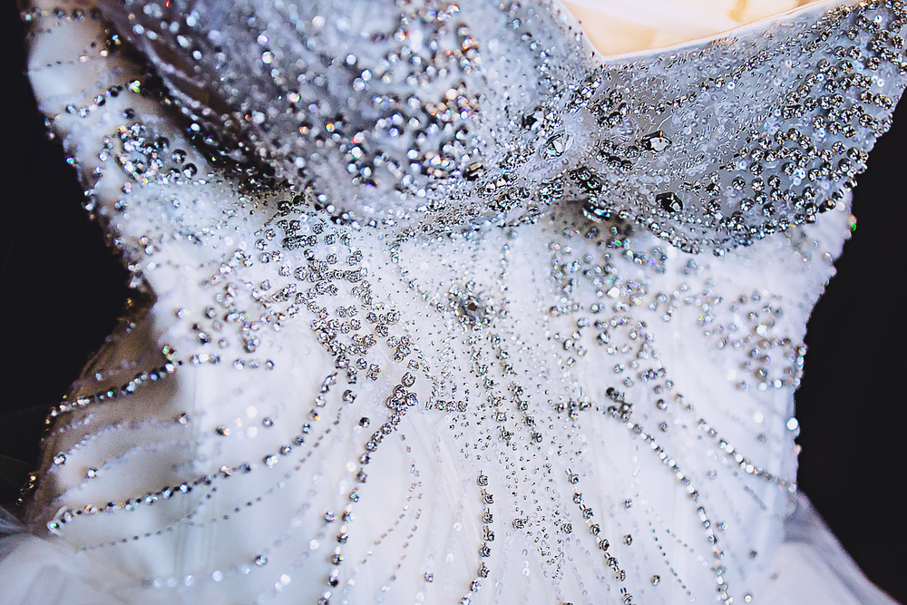 The beaded bodice on this wedding dress took my breath away!