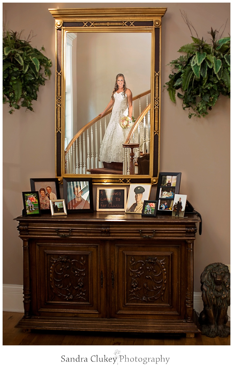 Bride in Mirror with Memorial Table at Whitestone Inn Wedding