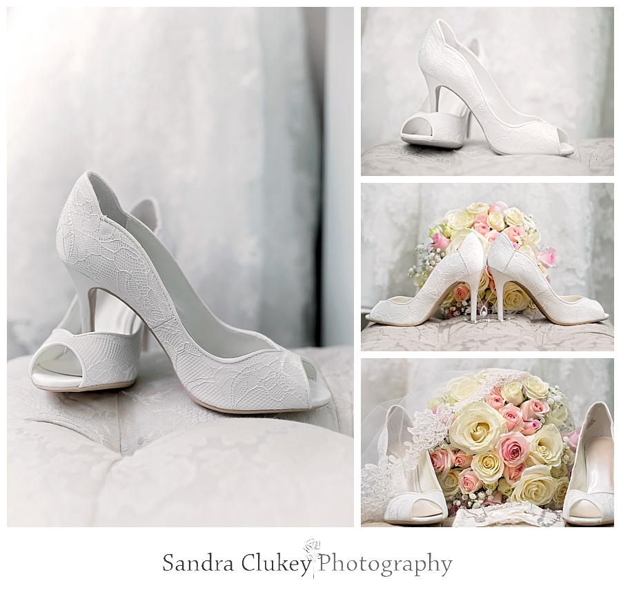Bridal Bouquet and Shoes at Whitestone Inn Wedding