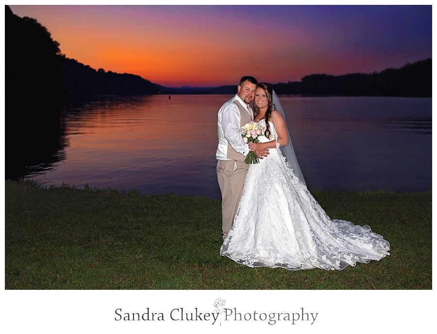 Whitestone Inn Wedding with bride and groom at sunset