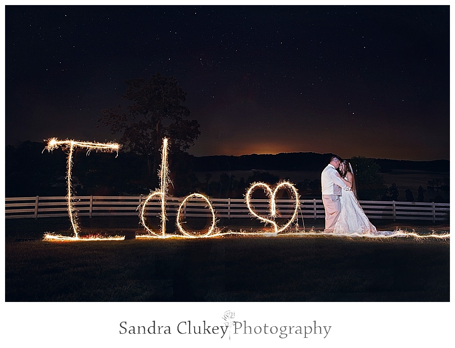 Sparkler Writing I Do at Whitestone Inn wedding