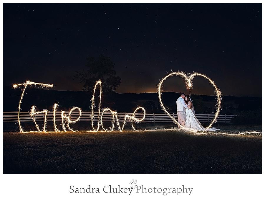 True Love Sparkler Writing at Whitestone Inn Wedding