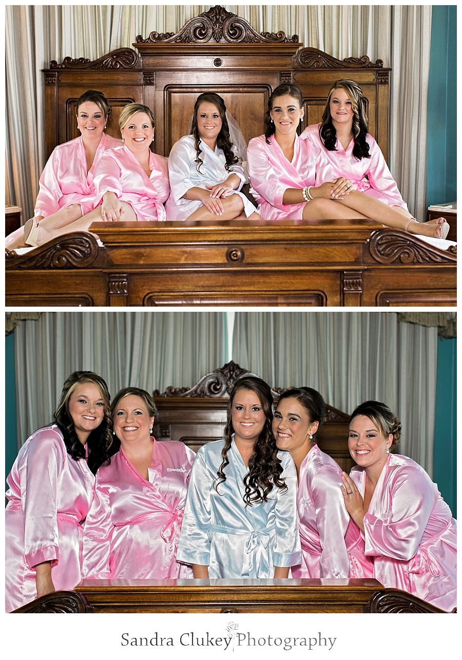 Bride and Bridesmaids on bed at Whitestone Inn