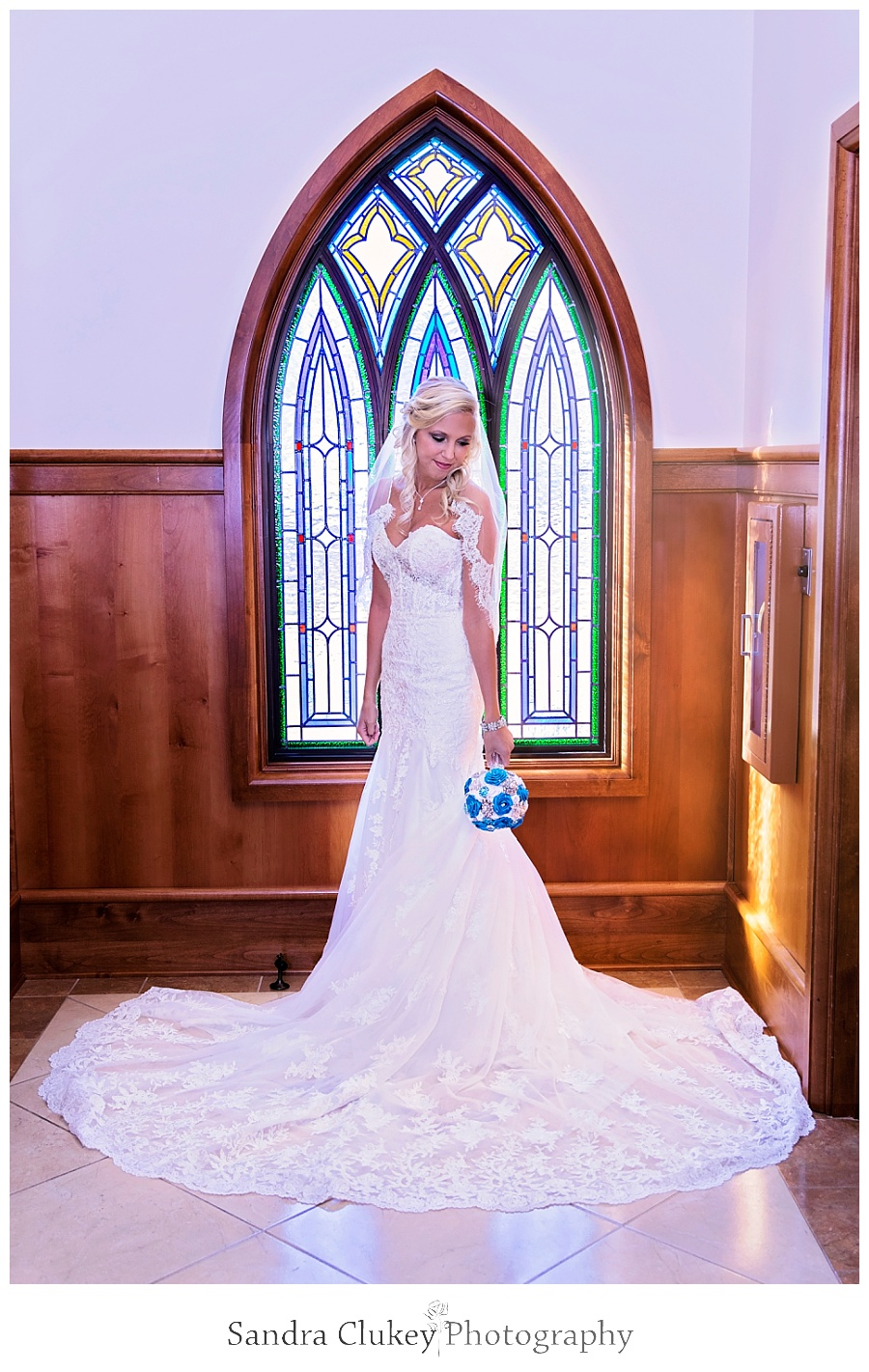 Bride at stained glass windows