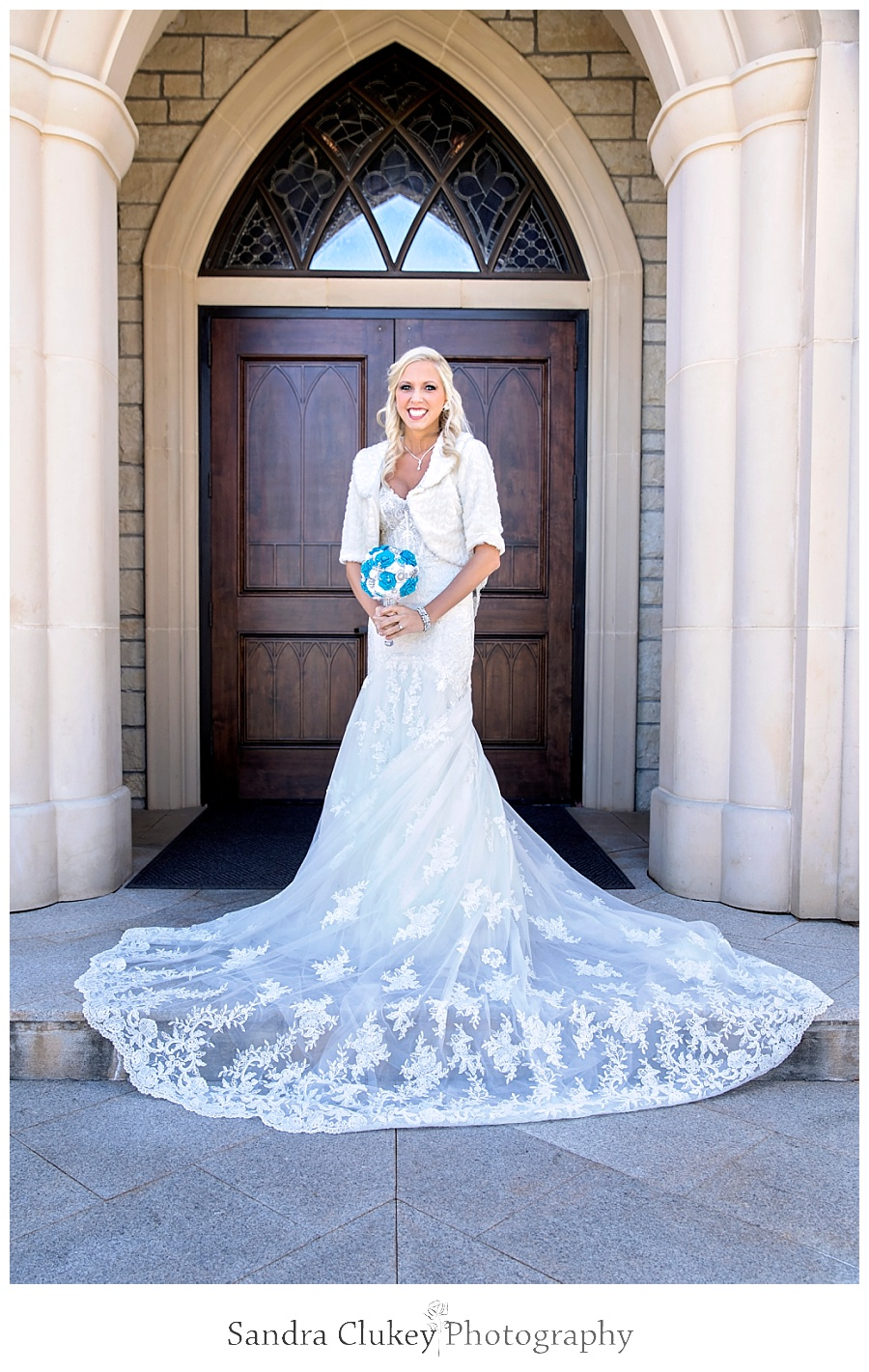 Bride at doors outside of Lee University Chapel