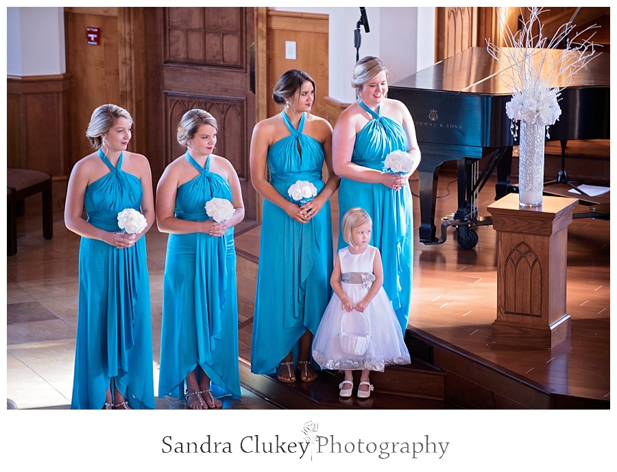 Bridesmaids at Lee University Chapel