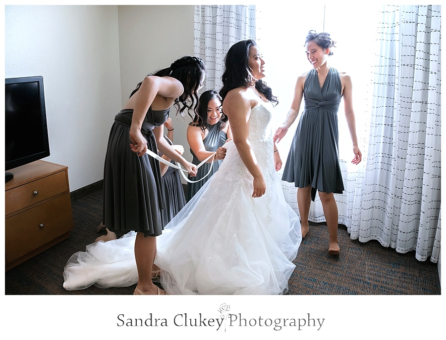 Last minute doting over bride