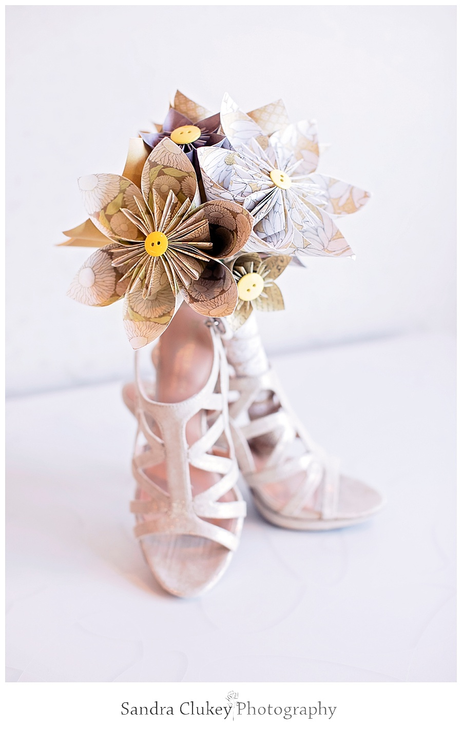bridal origami bouquet and bridal sandals