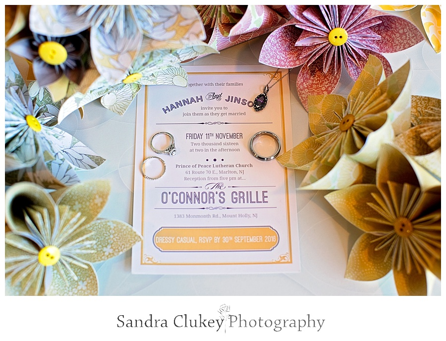 Wedding invitation with Bouquets and jewelry