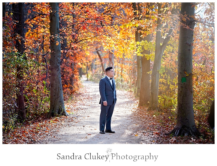 Reflective groom on tree lined path