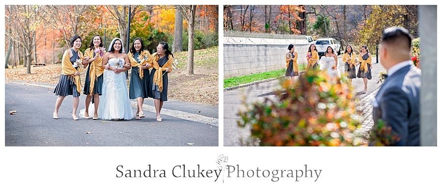 Beautiful bride with girls strolling toward groom
