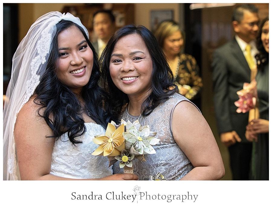 Joyful bride with her mom