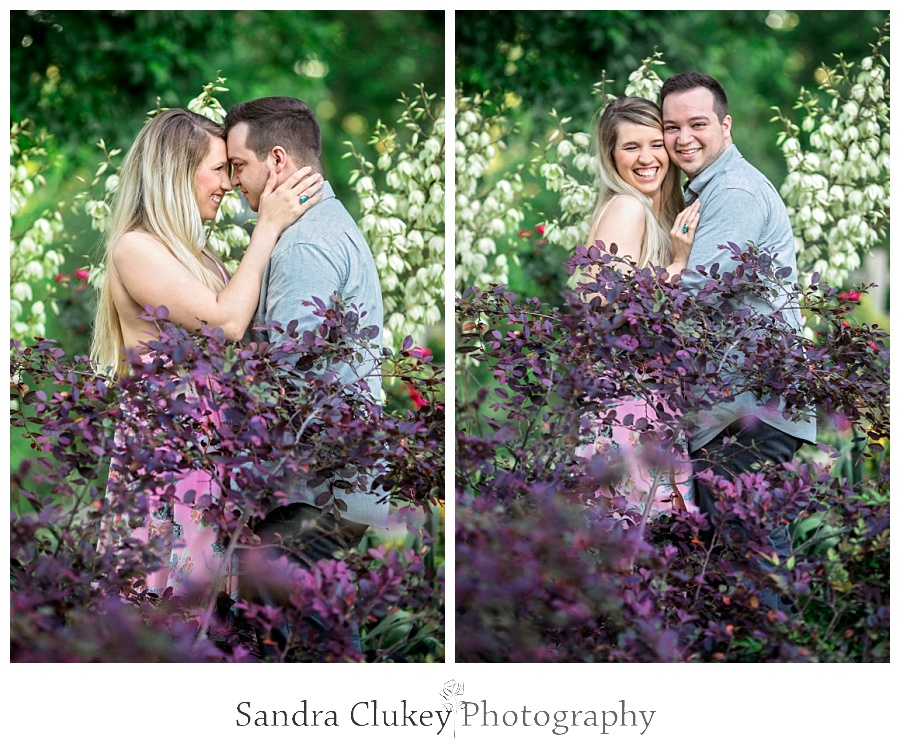 Passionate couple in a garden