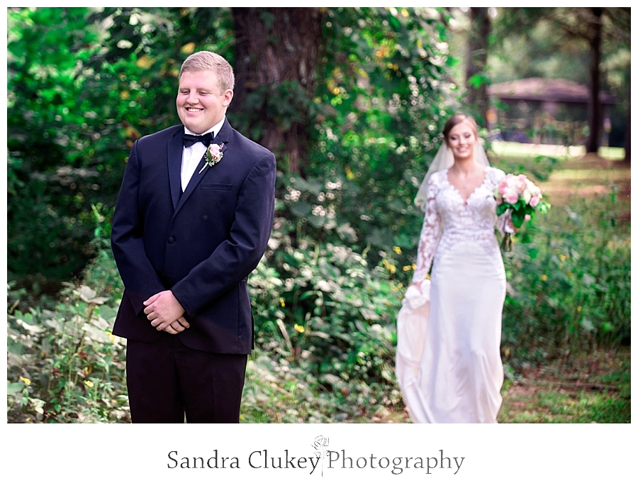 Sweet first look with bride and groom.