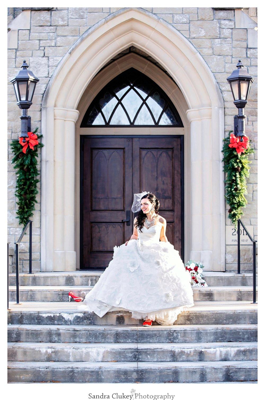Cinderella Bride on steps at Lee University Chapel, Cleveland TN