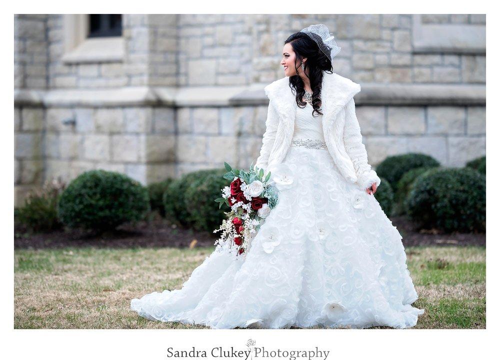 Bride looks back. Lee University Chapel, Cleveland TN