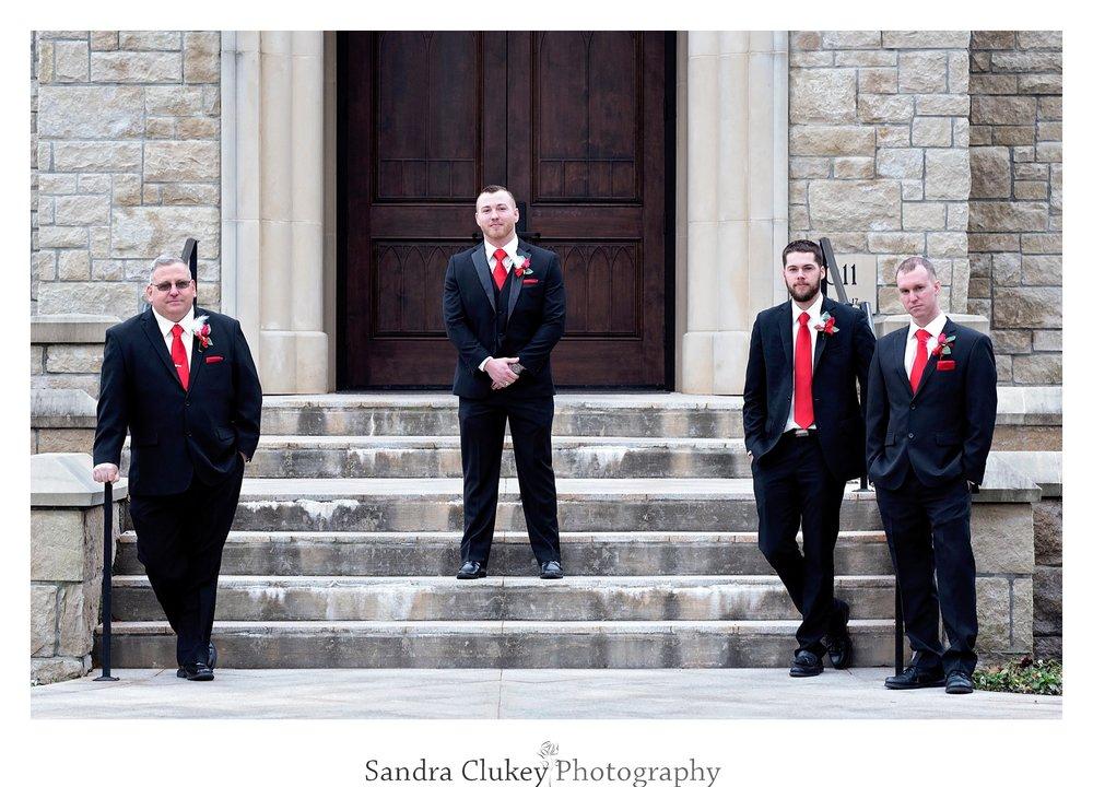 Striking groom and groomsmen