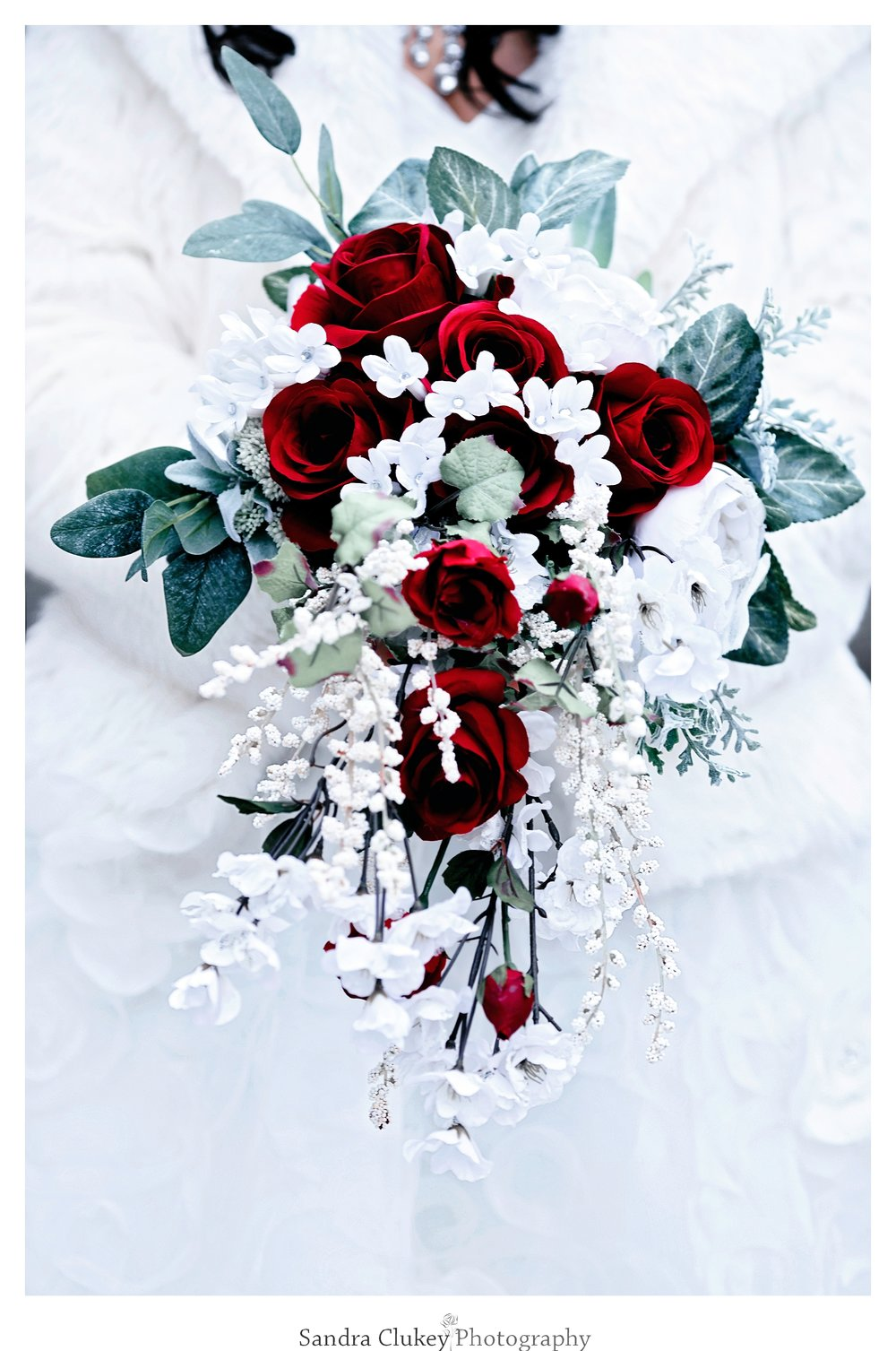 Extraordinary red and white bridal Bouquet. Lee University Chapel, Cleveland TN