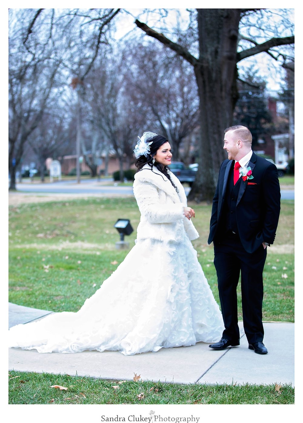 Bride and groom in front of  Lee University chapel, Cleveland TN.