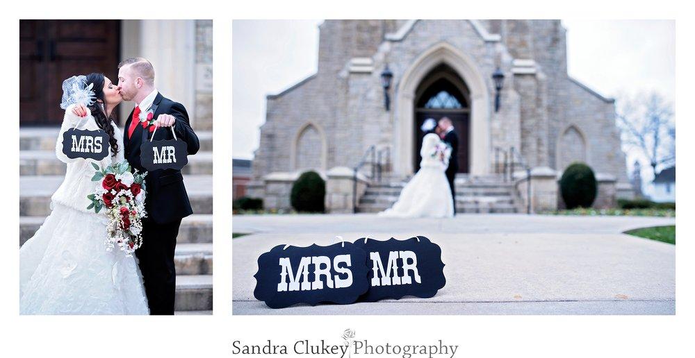 Wedding photo at front doors of Lee University Chapel