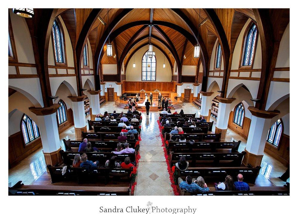 Wedding ceremony at Lee University Chapel, Cleveland TN wedding.