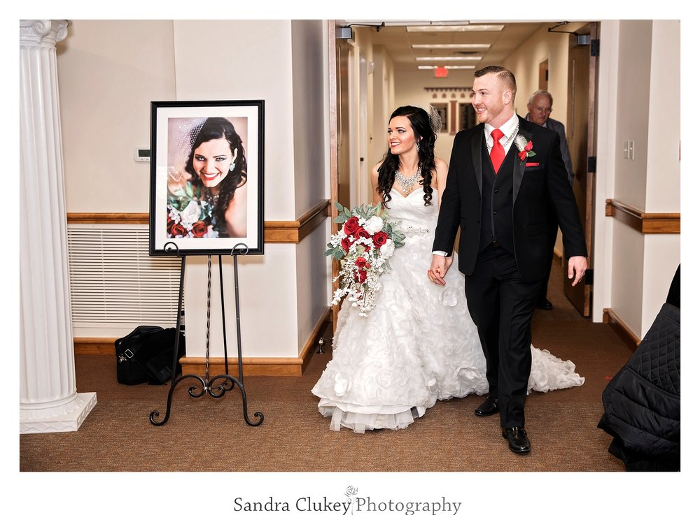 Happy couple arrives at the reception at Lee University Chapel, Cleveland TN