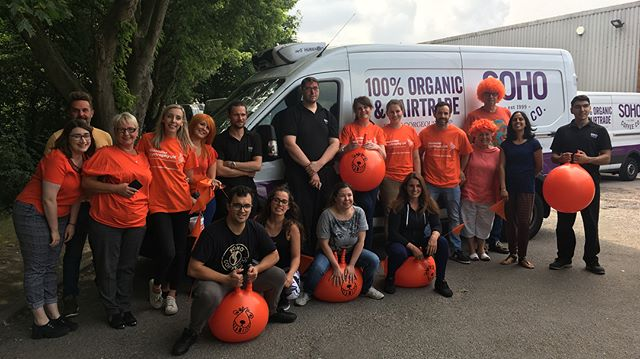 We've been busy fundraising here at SOHO HQ, starting off with a SPACE HOPPER RACE between our Head Office, Warehouse & Kitchen teams #TeamOrange🍊🧡