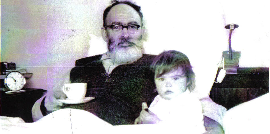 Morning tea with my father, a long time ago.