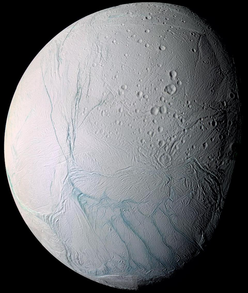 Photo of Enceladus courtesy of NASA/Cassini-huygens mission/imaging science subsystem