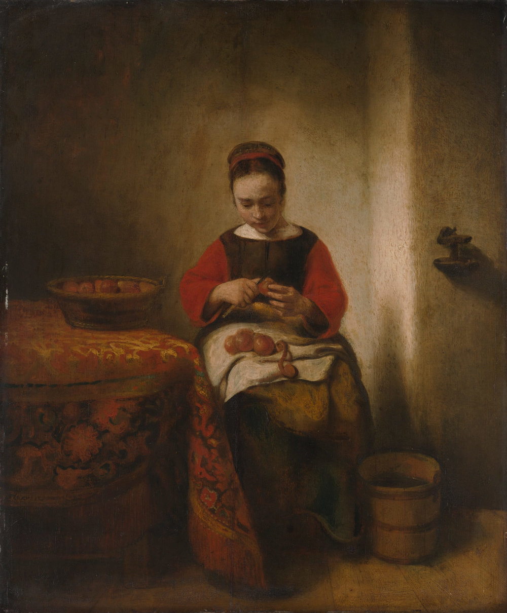 Young Woman Peeling Apples ~ Nicolaes Maes, Metropolitan Museum  [Full Poem, based on this picture  here]