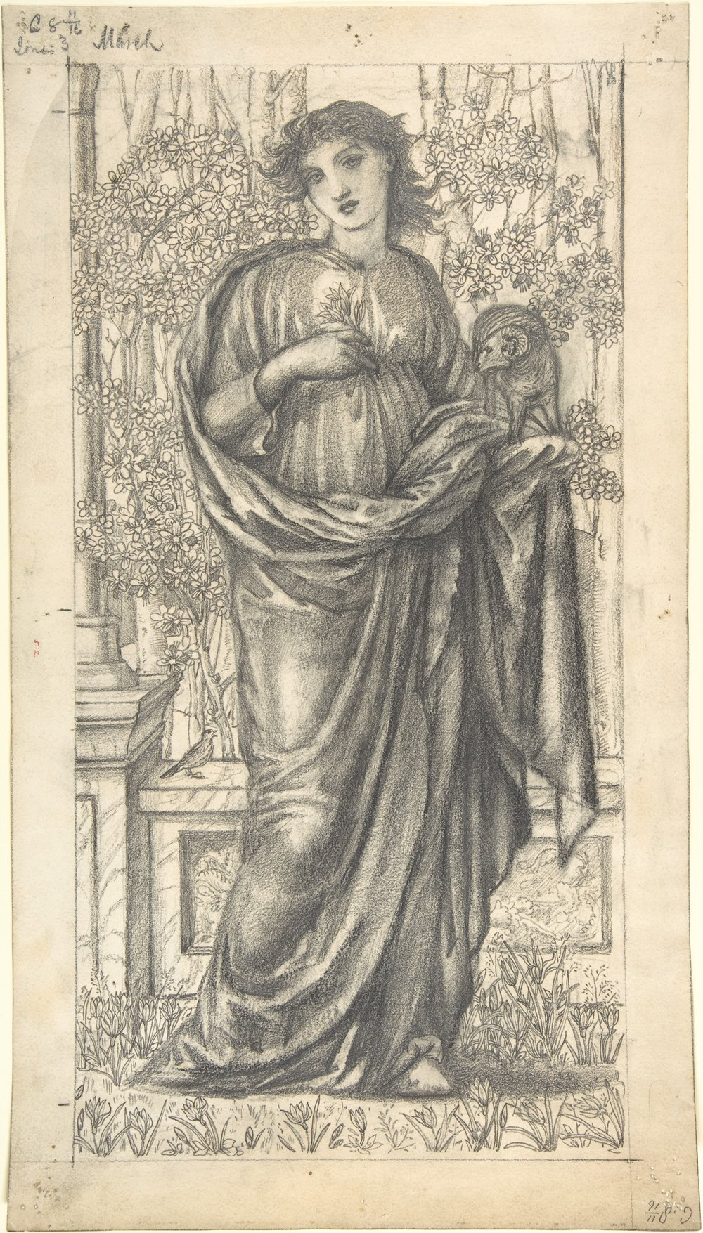 "Edward Burne-Jones: ""March"" surrounded by blackthorn blossom (""proto-sloes""),  MoMA"