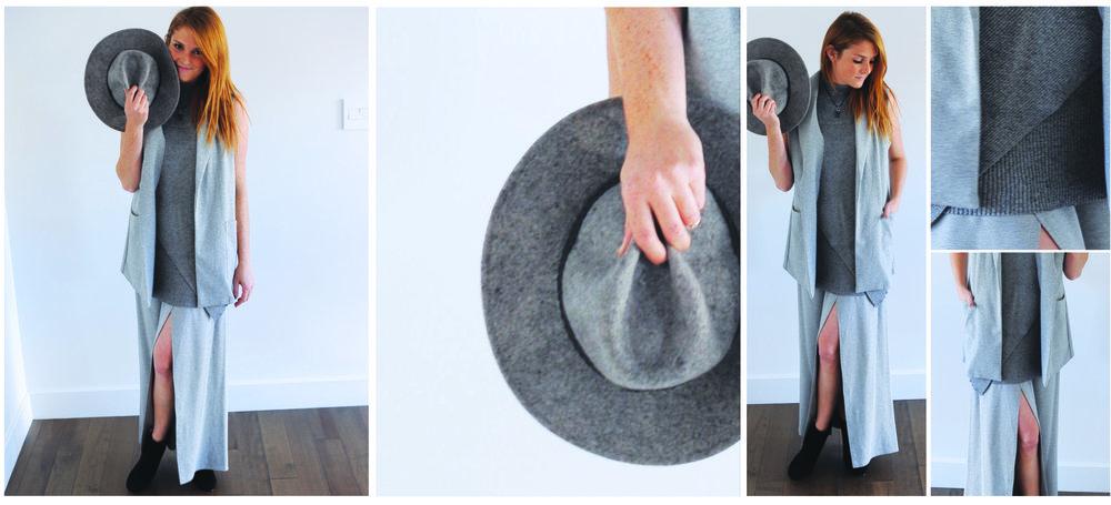 Veston sans manche:Aubainerie, Col roulé en tricot:Aubainerie,Jupe longue:LOVAN M, Chapeau de feutre: Roots, Bottillons:Boutique Piosa