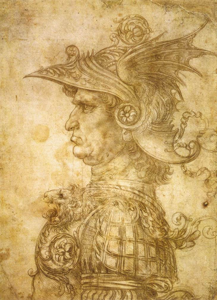LEONARDO da Vinci, Profile of a warrior in helmet, c. 1472, Silverpoint on prepared paper