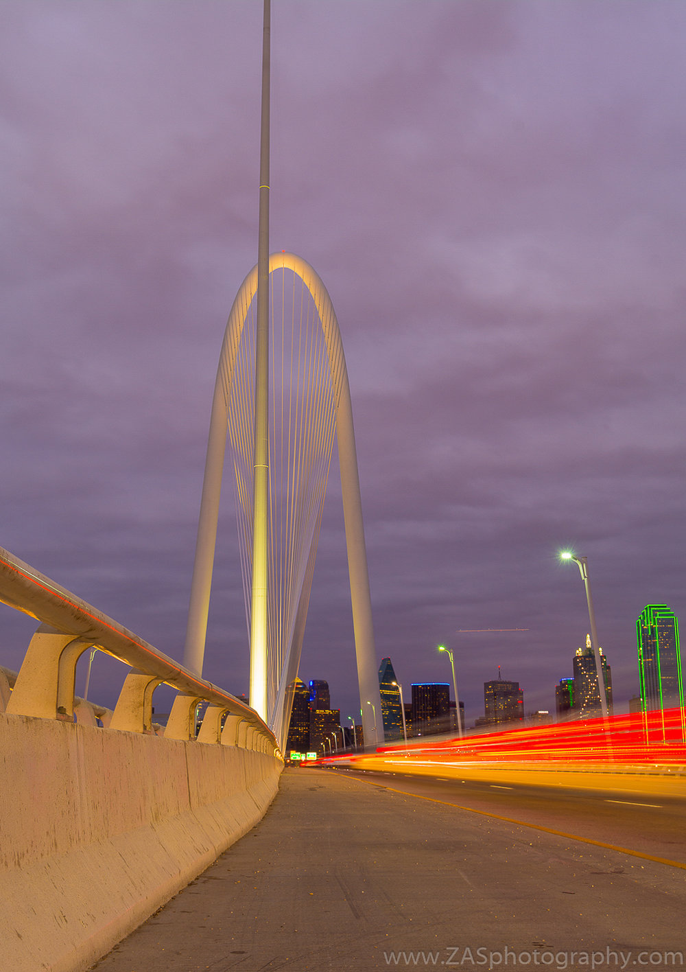 Margaret Hunt Hill Bridge, Dallas, TX. February sunset.