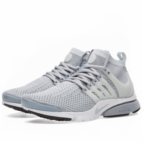 Nike Air Presto Ultra Flyknit - Wolf Grey   White - Front Side Angle ... af81a677e