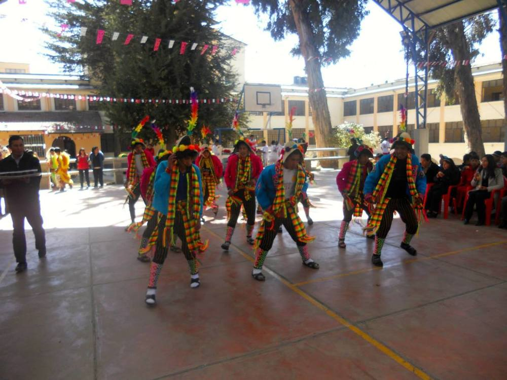 A group of the Mendez boys danced the TINKU, a lively dance from the north of Potosi, for the Anniversary of the boys' home