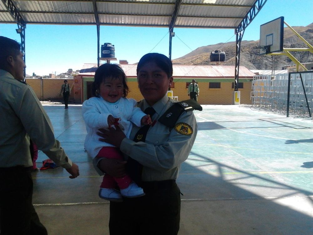 Our student, Nathaly, at the police academy in Huanuni.