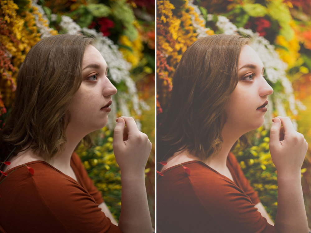 Left: Before / Right: Presets Used: All-In-One - Love Bug (tweaked). Brushes Used: Color Correct - Reduce Reds, Face - Soften Skin, Eyes - Brighten Eyes, Eyes - Enhance Catchlights2, Haze - Golden