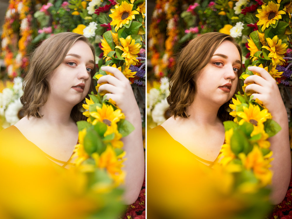 Left: Before / Right: Presets Used: Base - Into The Woods (tweaked), Tone/Tint - Summer Ten, Polish - High Contrast, Vignette - Black Dreamy. Brushes Used: Face - Reduce Wrinkles, Light - Darken Shadows