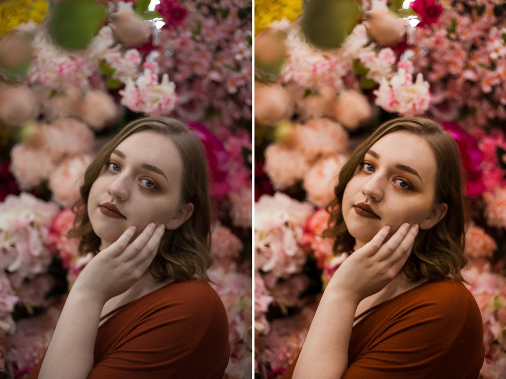 Left: Before / Right: Presets Used: Base - Base Edit 2 (tweaked), Tone/Tint - Summer Ten, Polish - Sharpen. Brushes Used: Face - Fix Under Eye Circles, Light - Brighten Highlights, Eyes- Enhance Blue Eyes2, Eyes - Enhance Catchlights