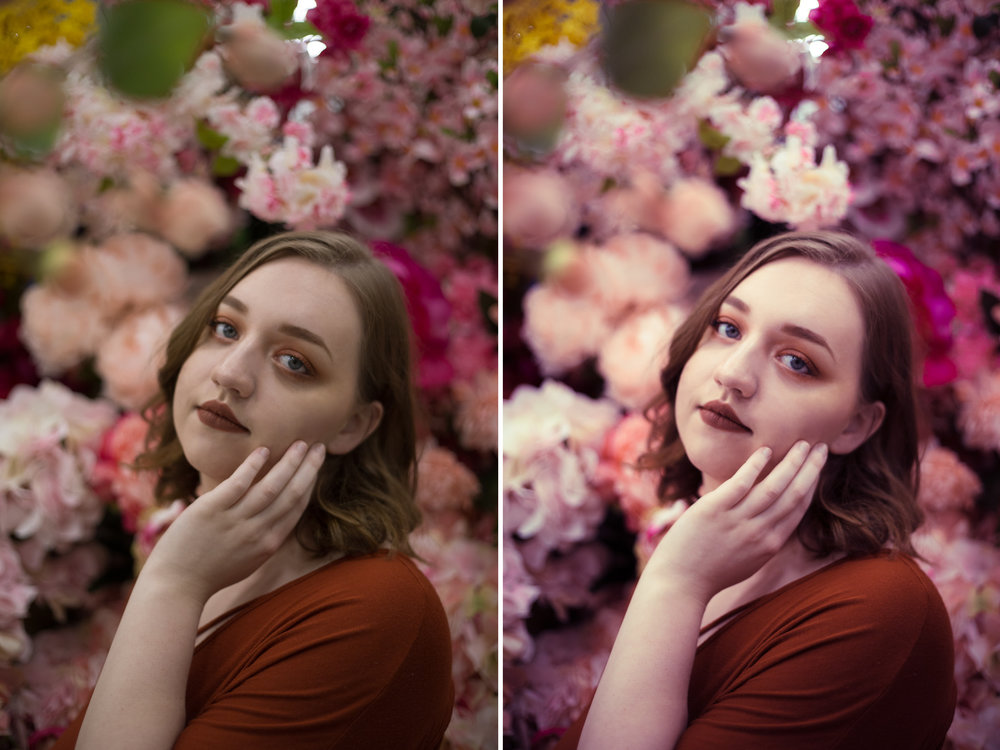 Left: Before / Right: Presets Used: All-In-One - Portrait Warm Magenta Haze. Brushes Used: Face - Reduce Shadow Under Eye (tweaked)
