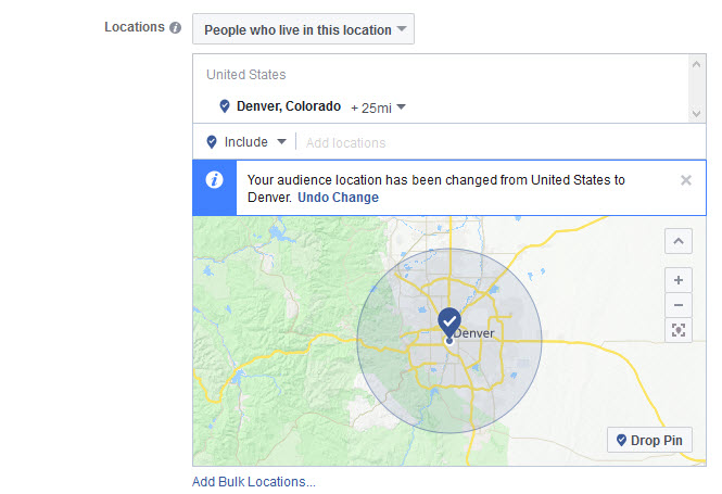 Facebook ad geographic targeting