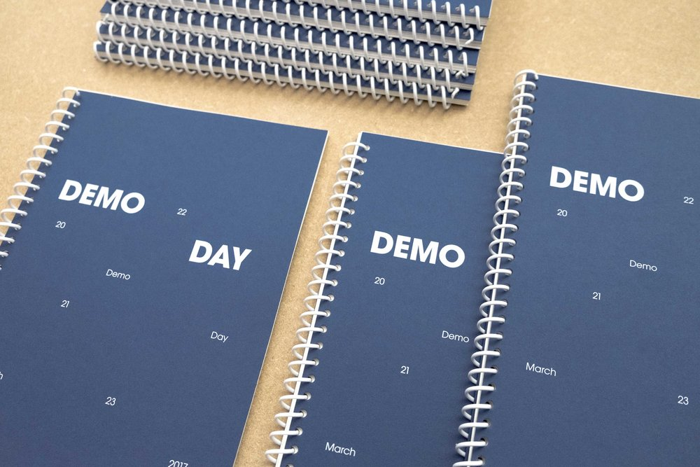 Demo Day   Visual identity, Imperial College, 2016   The Imperial College Advanced Hackspace (ICAH) appointed Margot Lombaert Studio to design their show Demo Day. The facility offers support and material to turn ideas into working prototype. Demo Day showcases current work being developed by members of ICAH.  We developed a minimal graphic approach to communicate efficiently the complexity of each project. As part of our scope, we designed their text panels within the space and their exhibition catalogue.