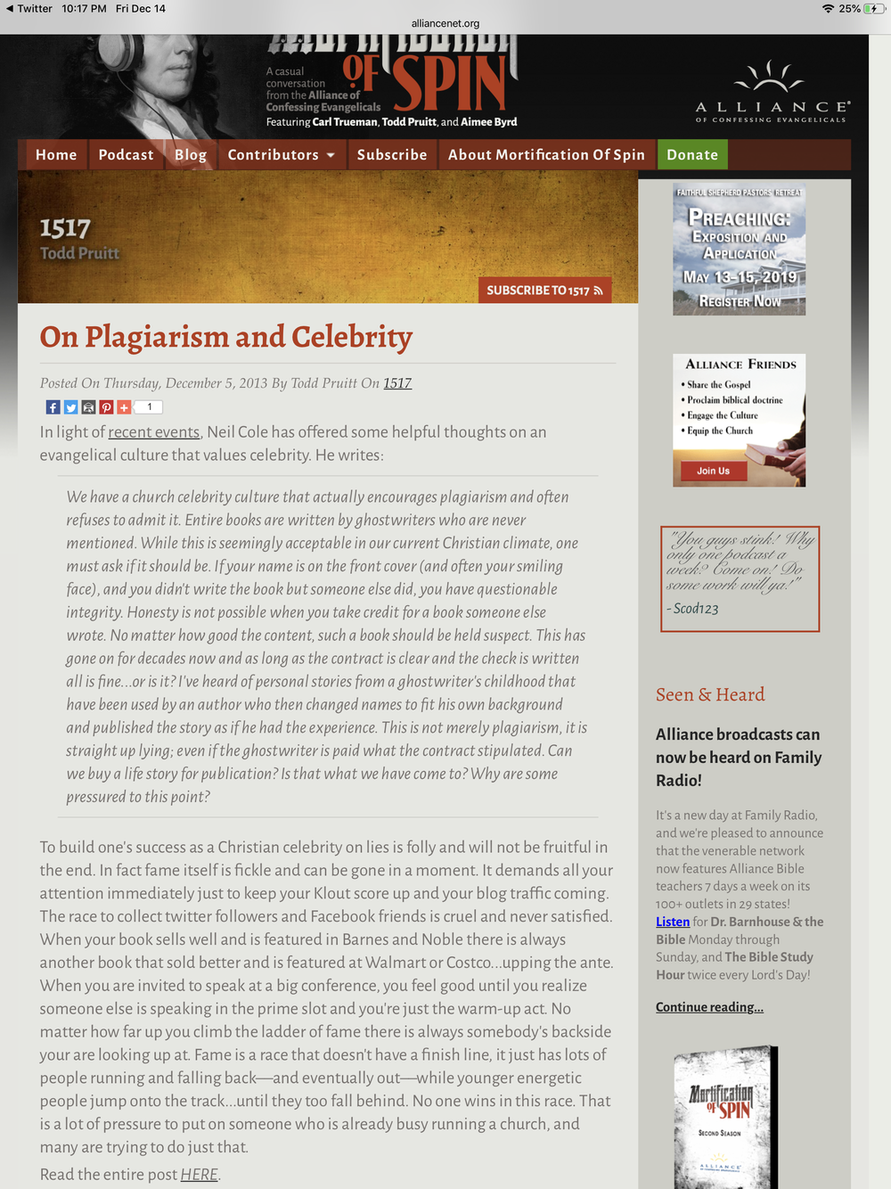 On his Alliance blog, Todd Pruitt in 2013 lamenting celebrity culture and how it promotes plagiarism.